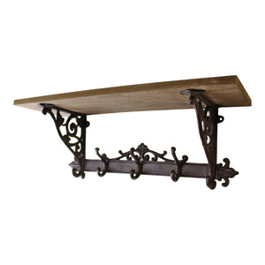 Wooden Wall Mounted Shelf with Cast Iron Coat Hooks