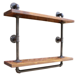 Industrial Pipe Wall Mounted Shelving Unit with 2 Shelves