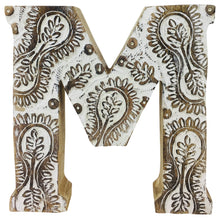 Hand Carved Wooden Flower Letter(s) - Choose your Letter A-Z (Available in Natural or White)