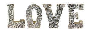 Hand Carved Wooden Flower Letters - LOVE (Available in Natural or White)