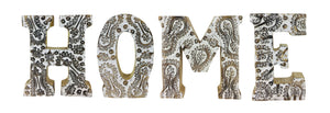 Hand Carved Wooden Flower Letters - HOME (Available in Natural and White)
