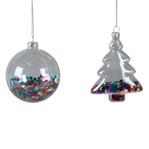 Disco Sequined Christmas Baubles - Round or Tree Shaped