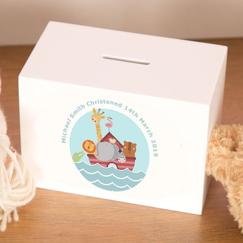 Personalised Noah's Ark Birth/Christening Money Box