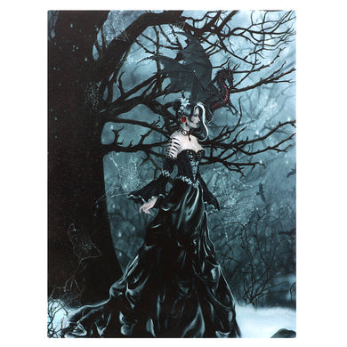 'Queen of the Shadows' Dragon Canvas Plaque by Nene Thomas - 19 x 25cm