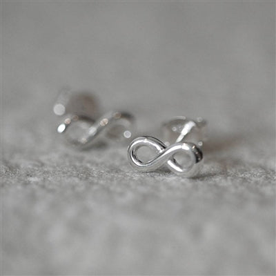 Infinity Symbol Sterling Silver Stud Earrings inc. Personalised Gift Box