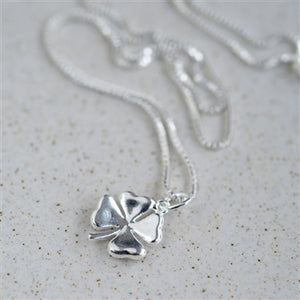 Lucky Clover Sterling Silver Necklace inc. Personalised Gift Box
