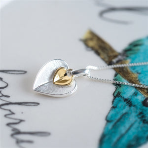 Sterling Silver and Gold Plated Double Heart Necklace inc. Personalised Gift Box