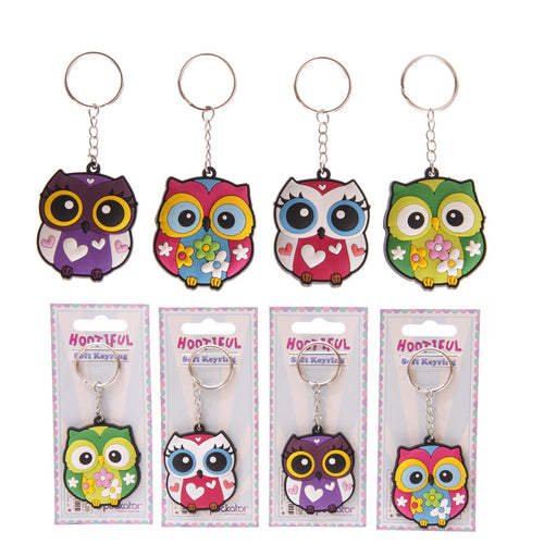 Cute and Colourful PVC Owl Keyring - Free Shipping
