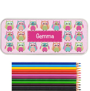 Personalised Own Pencil Tin  with 12 Colouring Pencils