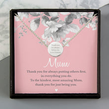 Personalised Mum Sentiment Silver Tone Necklace and Box - Perfect for Mother's Day