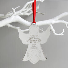 Personalised 'In Our Hearts' Memorial Angel Christmas Decoration