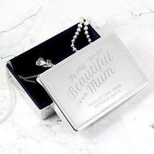 Personalised 'Beautiful Mum' Rectangular Jewellery Box