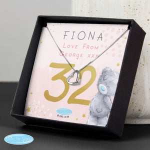 Personalised 'Me To You' Sparkle & Shine Birthday Sentiment Silver Tone Necklace with Box