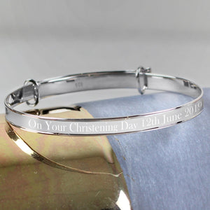Personalised Sterling Silver Child's Expanding Diamante Star Bracelet