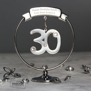 Personalised Crystocraft 30th Birthday or Anniversary Celebration Ornament