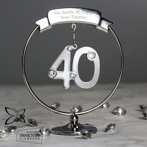 Personalised Crystocraft 40th Birthday or Anniversary Celebration Ornament