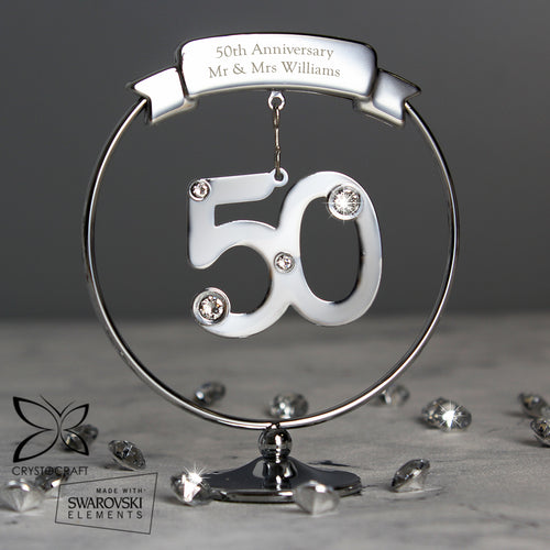 Personalised Crystocraft 50th Birthday or Anniversary Celebration Ornament