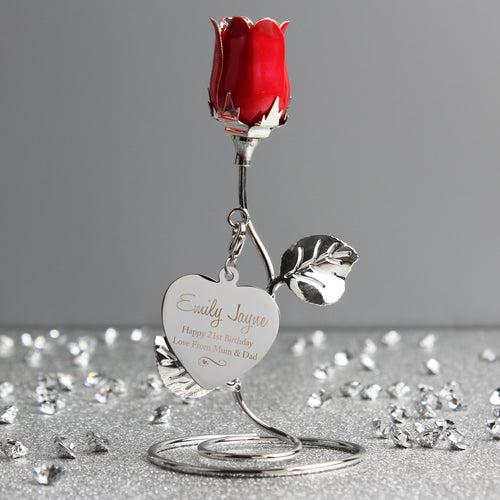 Personalised Swirls & Hearts Red Rose Bud Ornament - Perfect for Valentine's Day, Mother's Day, Anniversaries etc.