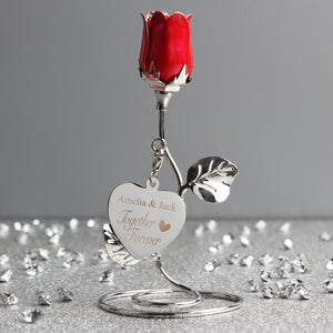Personalised 'Together Forever' Red Rose Bud Ornament - Ideal Wedding, Valentines or Anniversary gift