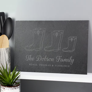 Personalised Welly Boot Family of Three, Four or Five Slate Sign