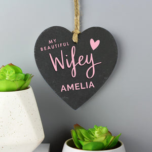 Personalised 'Wifey' Slate Heart Decoration - Great for Valentine's Day and Anniversaries!