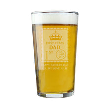 Personalised 1st Class Pint Glass - Perfect for Father's Day