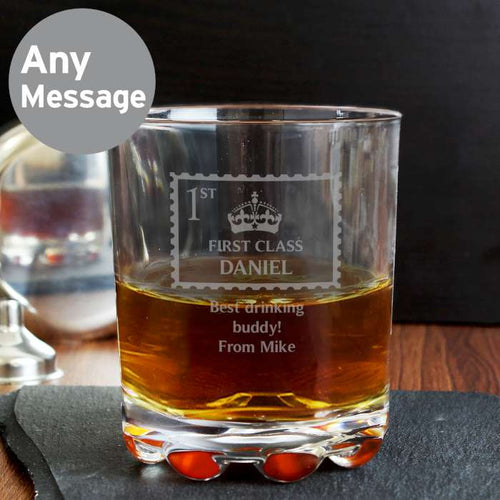 Personalised 1st Class Glass Tumbler - Perfect for Father's Day