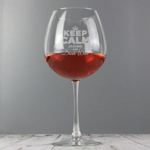 Personalised 'Keep Calm' Entire Bottle of Wine Glass