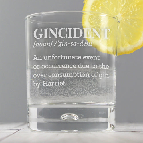 Personalised 'Gincident' Tumbler Bubble Glass