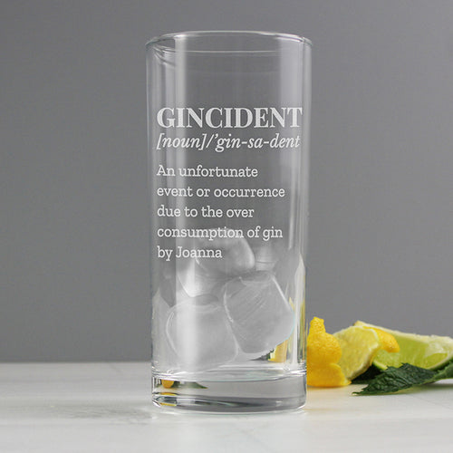 Personalised 'Gincident' Hi Ball Glass