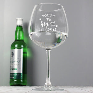 Personalised 'Gin to My Tonic' Gin Balloon Glass - perfect for Valentine's Day and Anniversaries
