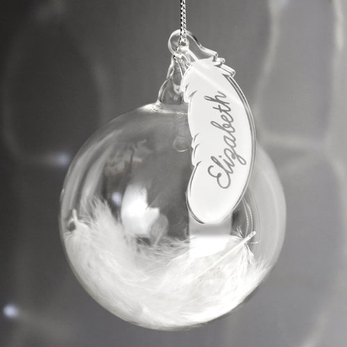 Personalised White Feather Glass Christmas Tree Bauble - Name Only