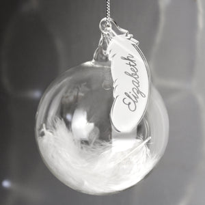 Personalised Feather Glass Christmas Tree Name Bauble - Available in White, Blue and Pink