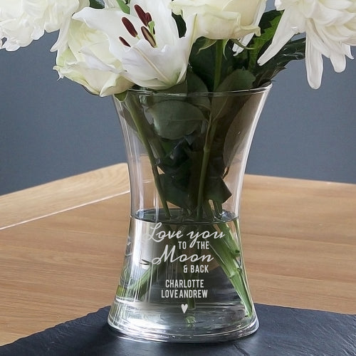 Personalised Love You To The Moon and Back Glass Vase - perfect for Birthdays, Weddings, Anniversaries etc.