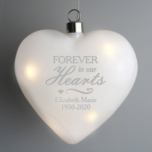 Personalised 'Forever in Our Hearts' LED Hanging Glass Heart