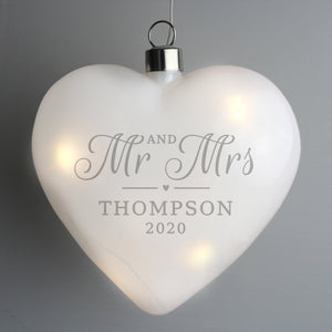 Personalised 'Mr & Mrs' LED Hanging Glass Heart