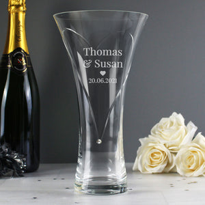 Personalised Couple Large Hand Cut Diamante Heart Vase with Swarovski Elements
