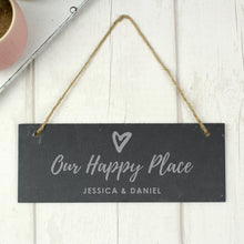 Personalised 'Our Happy Place' Hanging Slate Plaque
