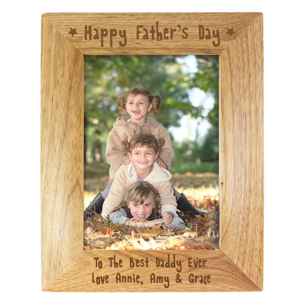 Personalised 5x7 inch 'Happy Father's Day' Wooden Photo Frame