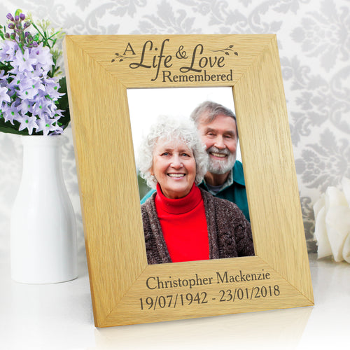 Personalised Memorial 'A Life & Love Remembered' 6x4 Oak Finish Photo Frame