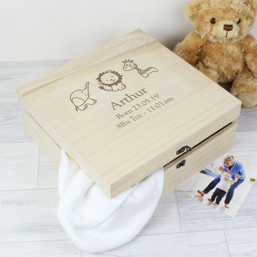 Personalised Hessian Animals Large Wooden Keepsake Box - perfect for New Born, Christening etc.