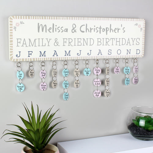 Personalised Wooden Birthday Planner Plaque with Customisable Discs