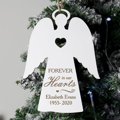Personalised Wooden Memorial 'Forever in Our Hearts' Angel Christmas Tree Decoration