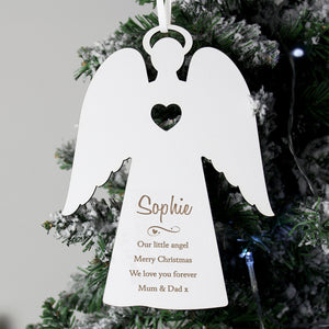Personalised Wooden Memorial Angel Christmas Tree Decoration