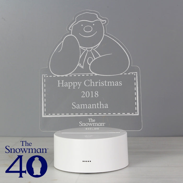 Personalised The Snowman LED Colour Changing Christmas Decoration and Night Light