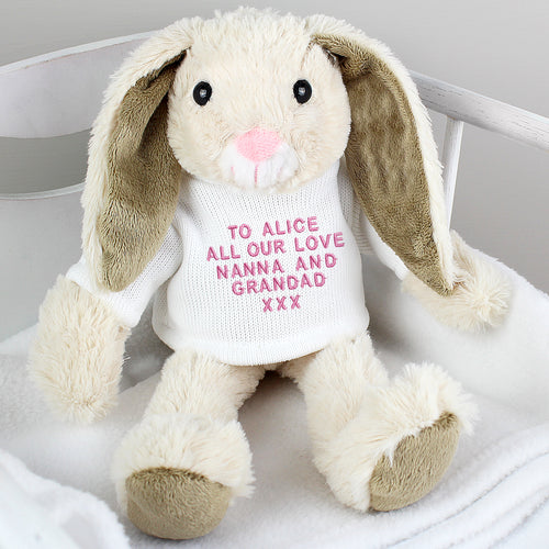 Personalised Message Soft Toy Bunny - Pink or Blue Embroidery