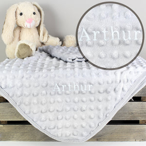 Personalised Luxury Grey Baby Blanket