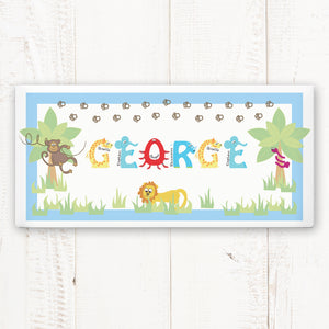 Personalised Animal Alphabet Ceramic Door Plaque - Available in Blue or Pink