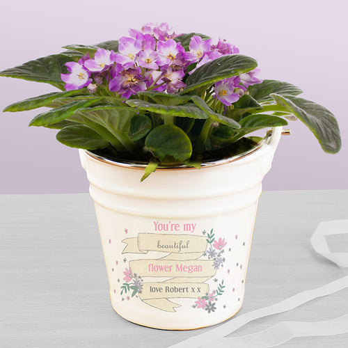 Personalised Garden Bloom Porcelain Bucket/Planter - Perfect for Teachers, Mothers, Wedding Favours and More