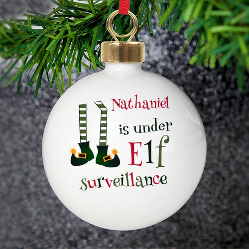 Personalised Elf Surveillance Christmas Bauble
